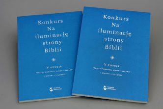 Na iluminację strony Biblii. Projekt pierwszej strony okładki i strony tytułowej