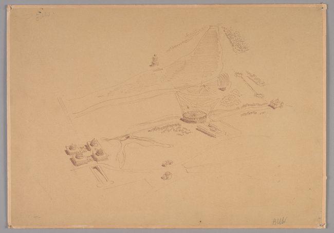 Odbitka rysunku Macieja Nowickiego wykonana na papierze światłoczułym (ozalid) przedstawiająca założenie parlamentu w Warszawie, MHW 279_Pl