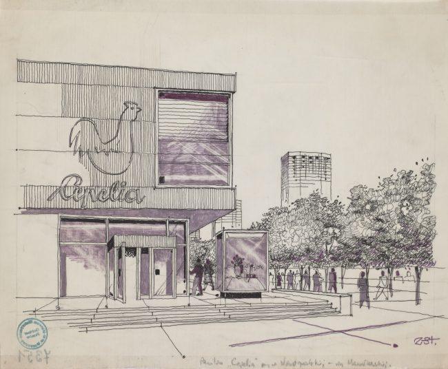 Rysunek Zygmunta Stępińskiego wykonany tuszem na kalce, przedstawiający południową elewację pawilonu handlowego Cepelii, MHW 7351_Pl