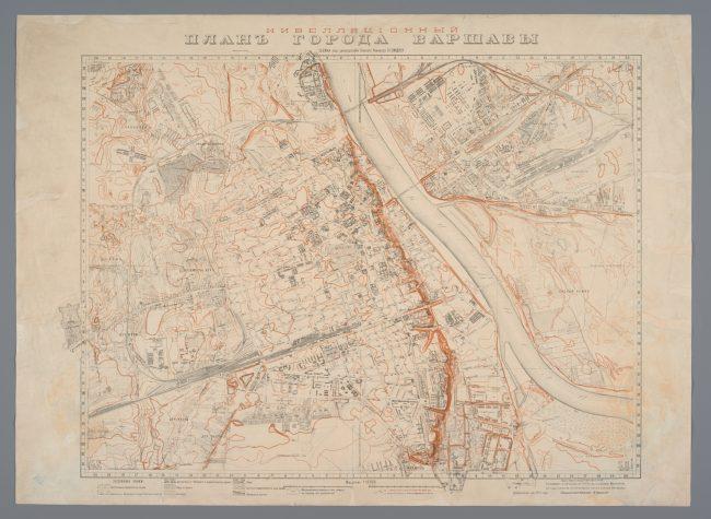 Plan niwelacyjny miasta Warszawy w skali 1:10 000, wydany w 1912 roku, opracowany pod kierunkiem Williama Heerleina Lindleya, MHW 8237_Pl