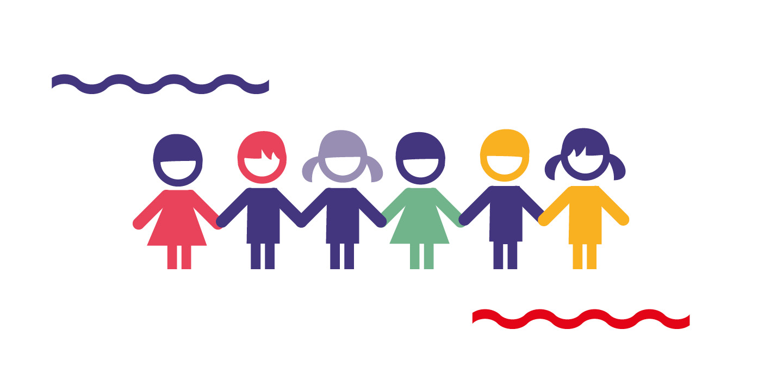 Grafika przedstawia szóstkę dzieci trzymające się zaręce.