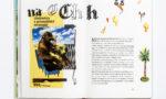 Środek książki, ilustracja itekst, nailustracji goryl iżółte elementy