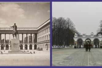 Zestawienie dwóch zdjęć pałacu saskiego. Po lewej sprzed zniszczeń, po prawej współczesne.
