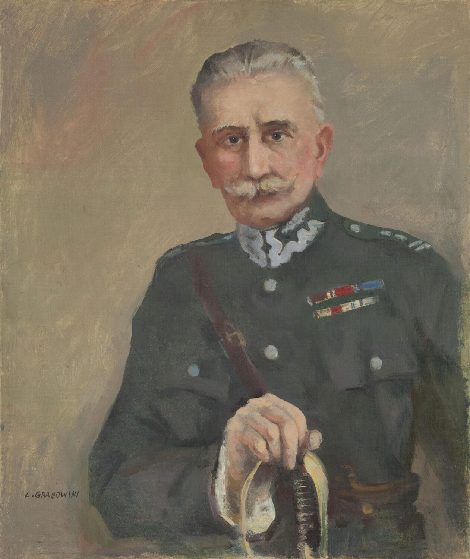 Obraz. Portret starszego, siwego mężczyzny wmundurze