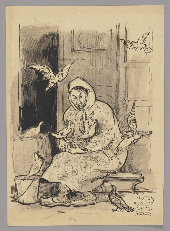 Rysunek kobiety siedzącej przeddrzwiami dokamienicy wotoczeniu gołębi.