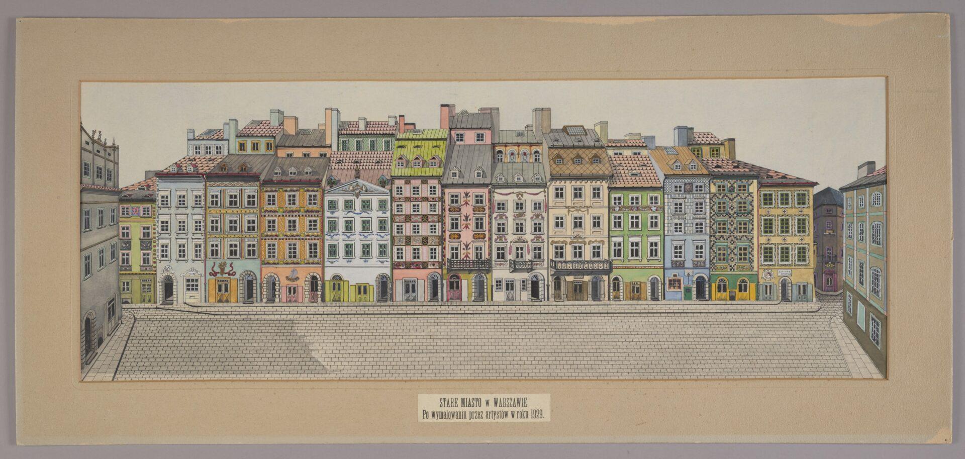 Rysunek fasady kamienic przy Rynku Starego Miasta
