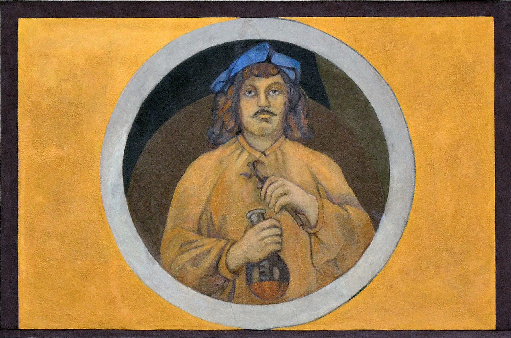 Fragment malowidła ściennego. Portret mężczyzny wokrągłej ramce.