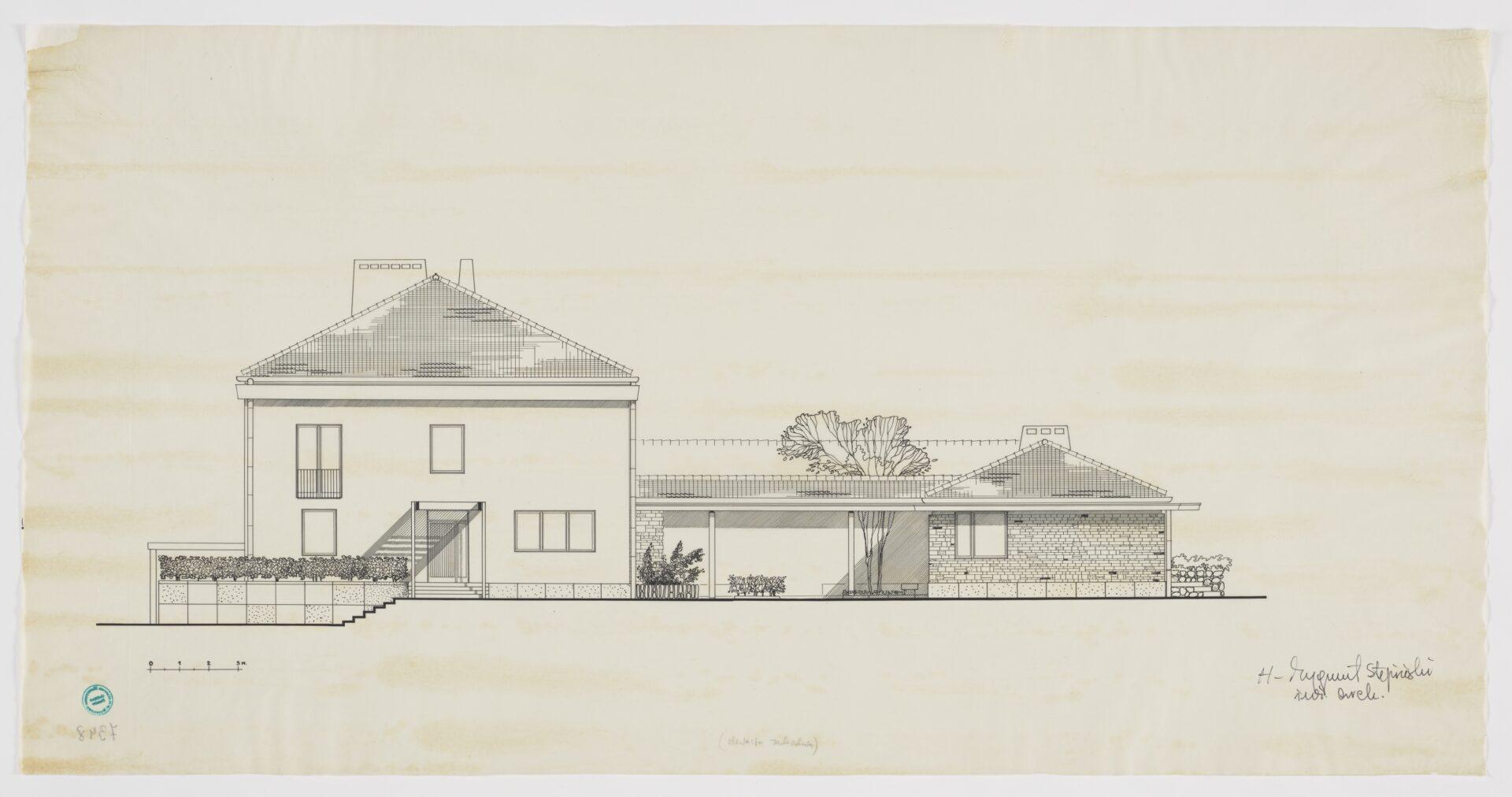 Szkic nakremowym papierze czarnym atramentem narysowany projekt domu.
