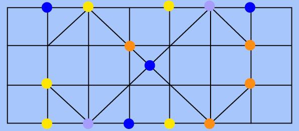 Grafika. Naniebieskim tle geometrycznie rozrysowana siatka kwadratów iprostokątów. Nastykach linii losowo rozmeiszoczne kolorowe kropki: pomarańczowe, żółte, granatowe ifioletowe.