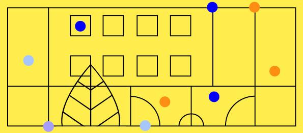Grafika nażółtym tle abstrakcyjne geometryczne kształty