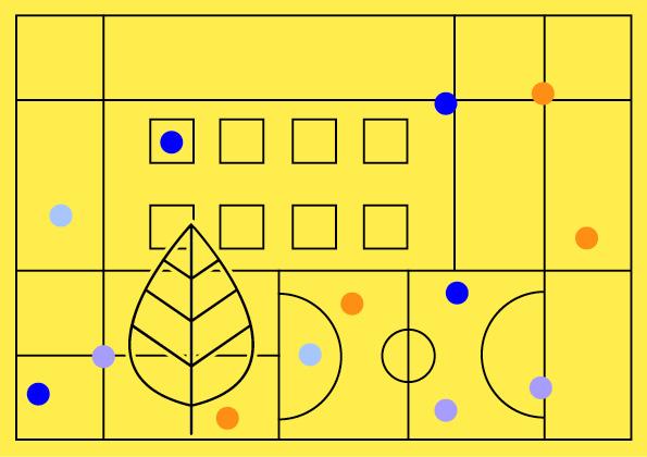Grafika nażółtym tle abstrakcyjne geometryczne ksztalty