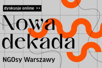 Grafika. Na szarym tle czerwone fale, napis Nowa dekada, Ngosy Warszawy