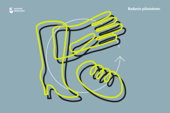 Grafika. Na szaroniebieskim tle zółte rysunki buta, chleba i rękawiczki