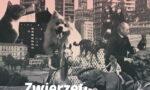 Plakat wystawy zwierzęta wWarszawie. Tropem relacji przedstawia kolaż zczarno-białych zdjęć różnych zwierząt: psa, kota, ptaków, słonia iniedźwiedzi orazbudynków