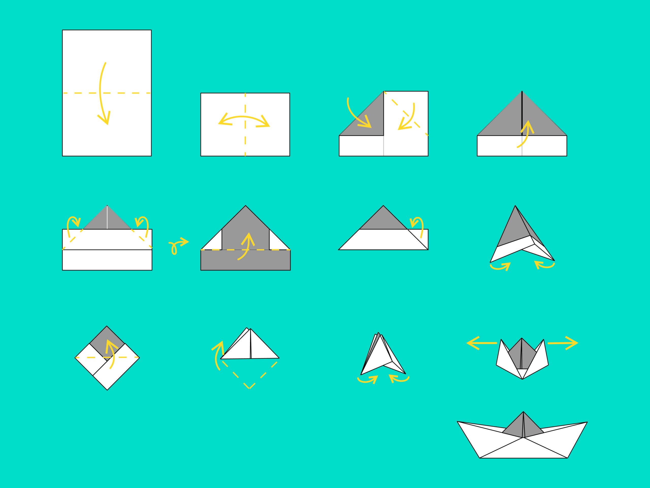 Instrukcja graficzna wykonania łódki zpapieru.