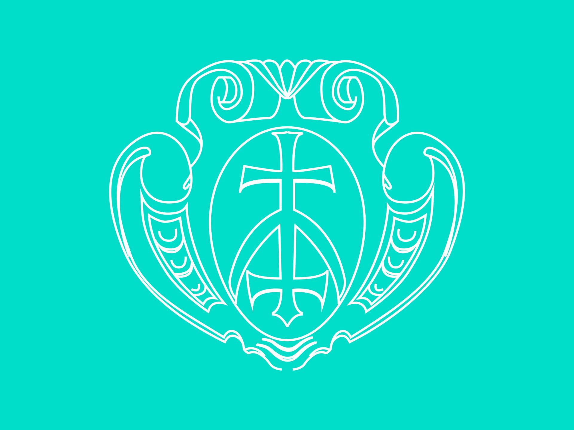 Rysunek. Gmerk wformie kartusza herbowego, zawiniętego nakształt dwóch spirali wgórnej części. Naśrodku, wowalu, dwa krzyże kawalerskie połączone dłuższymi ramionami. Górny krzyż podparty lekko zaokrągloną krokwią.