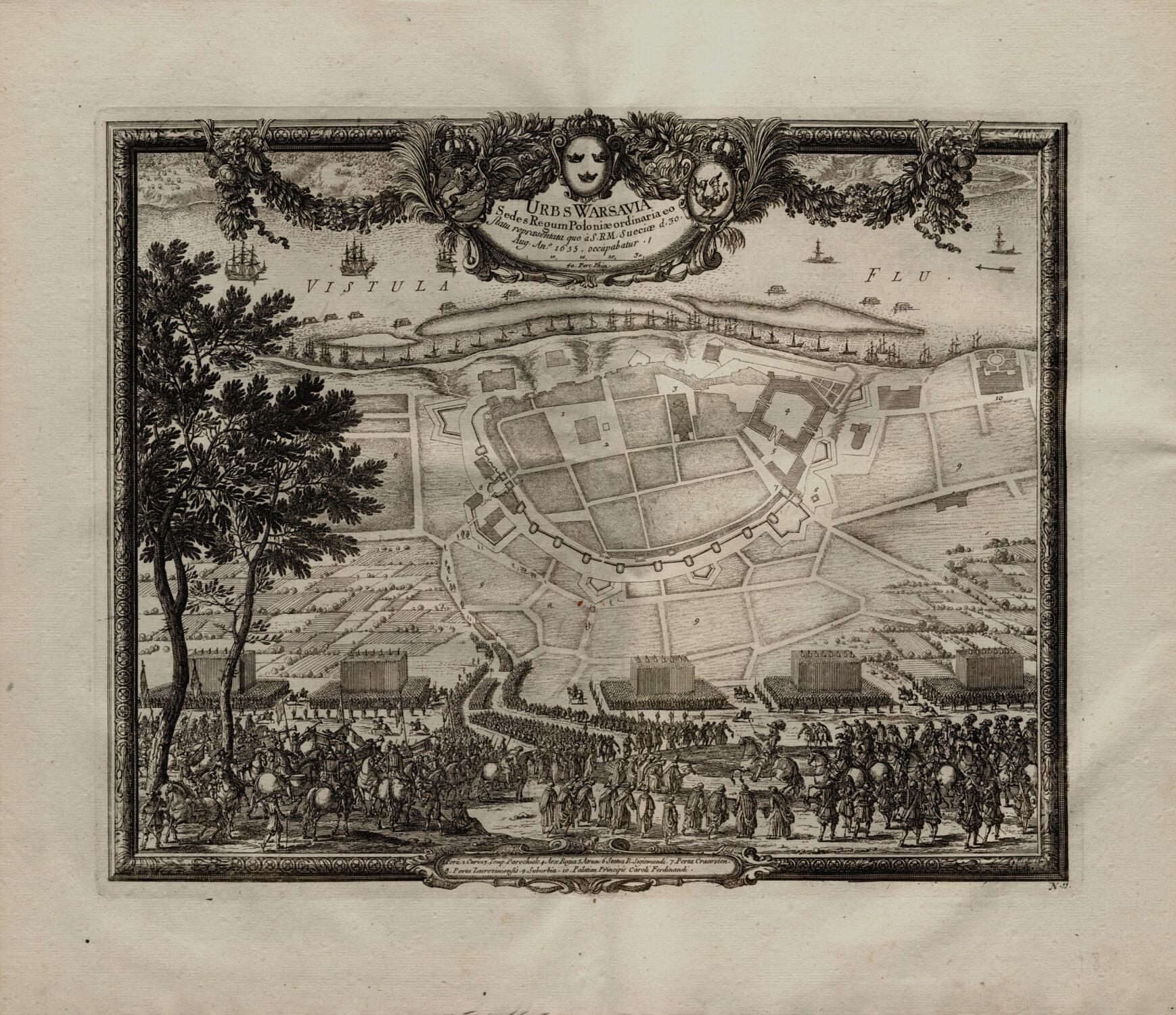 Plan zabudowy Starego Miasta, otoczonego podwójnym pierścieniem muru obronnego, zzaznaczonymi basztami ibramami miejskimi.