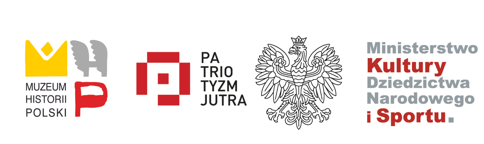 logo muzeum historii polski logo patriotyzmu jutra logo ministerstwa kultury, dziedzictwa isportu
