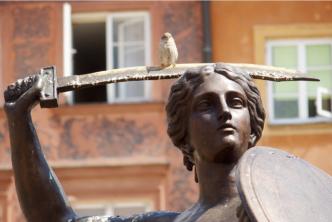 pomnik syrenki warszawskiej, w tle kamienice, na mieczu siedzi ptak