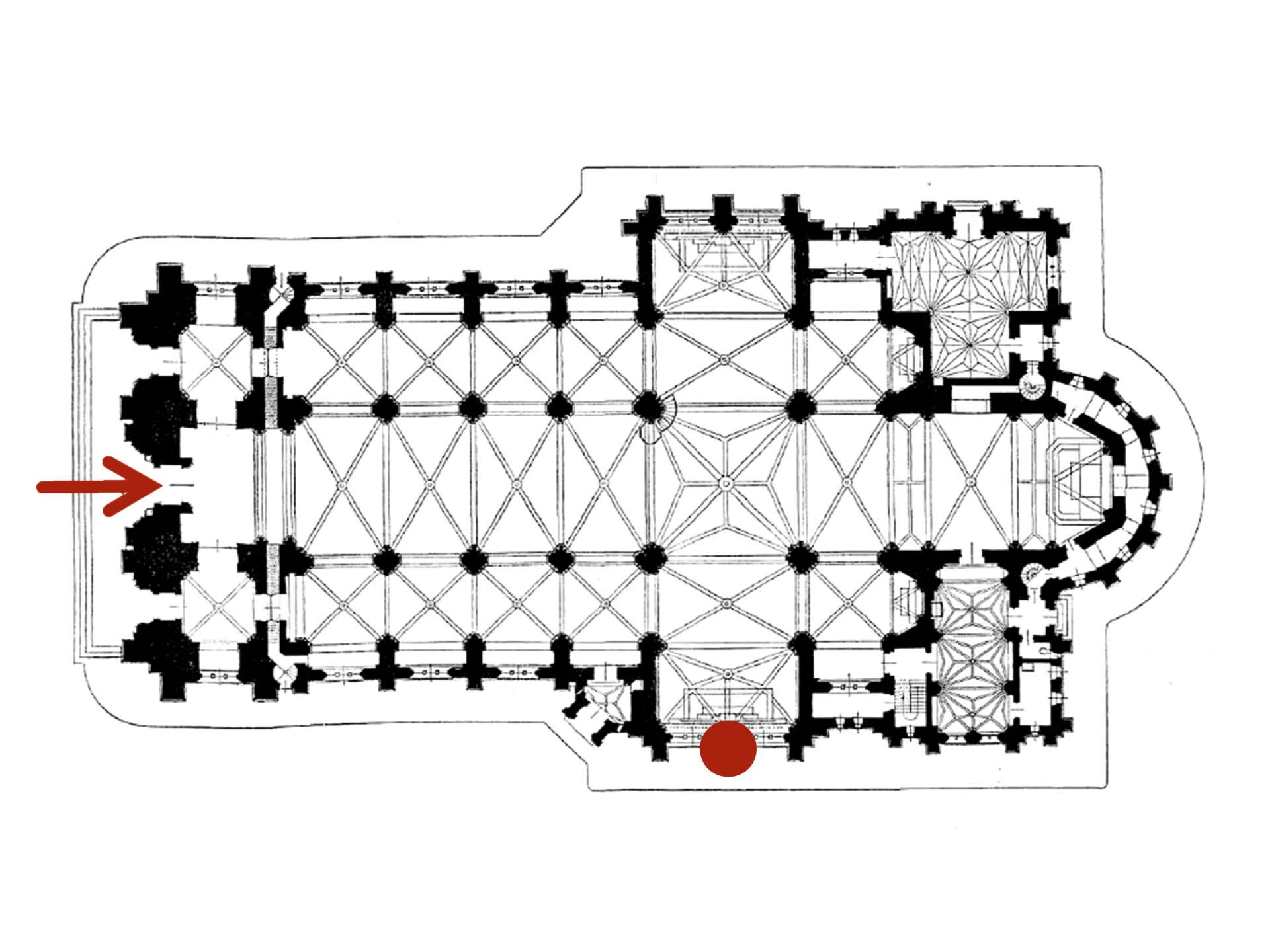Plan architektoniczny kościoła. Naprawym skrzydle transeptu czerwona kropka nazewnętrznej stronie fasady.