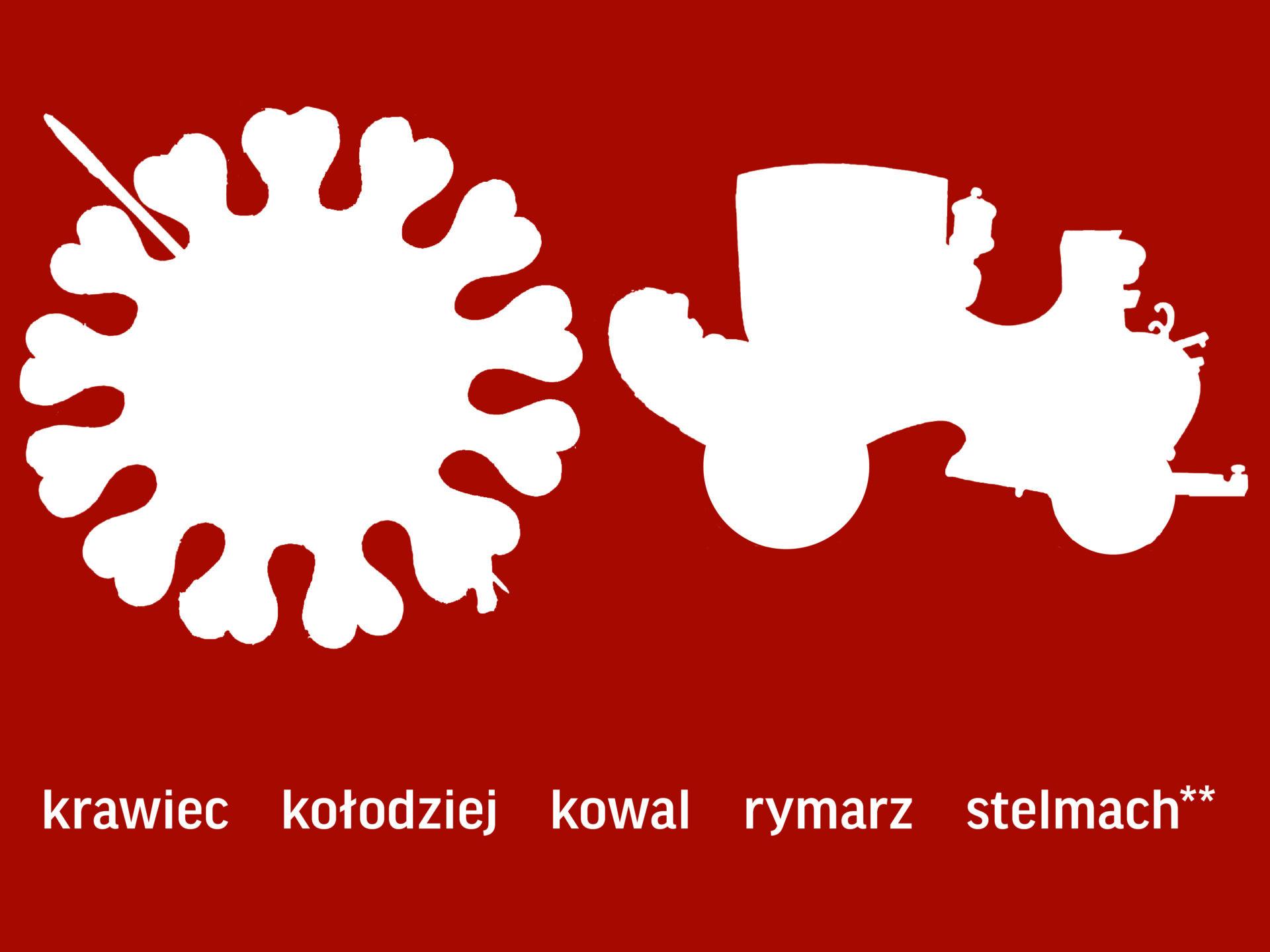 Dwie białe sylwety onieregularnych kształtach naczerwonym tle. Poniżej napis: krawiec, kołodziej, kowal, rymarz, stelmach