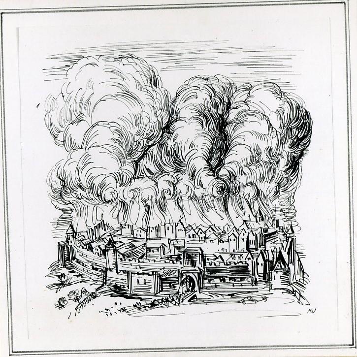 Rysunek czarnym tuszem. NadWarszawą, otoczoną murami miejskimi, unoszą się olbrzymie kłęby dymu iogień. Ludzie uciekają zmiasta przezbramę wjazdową.