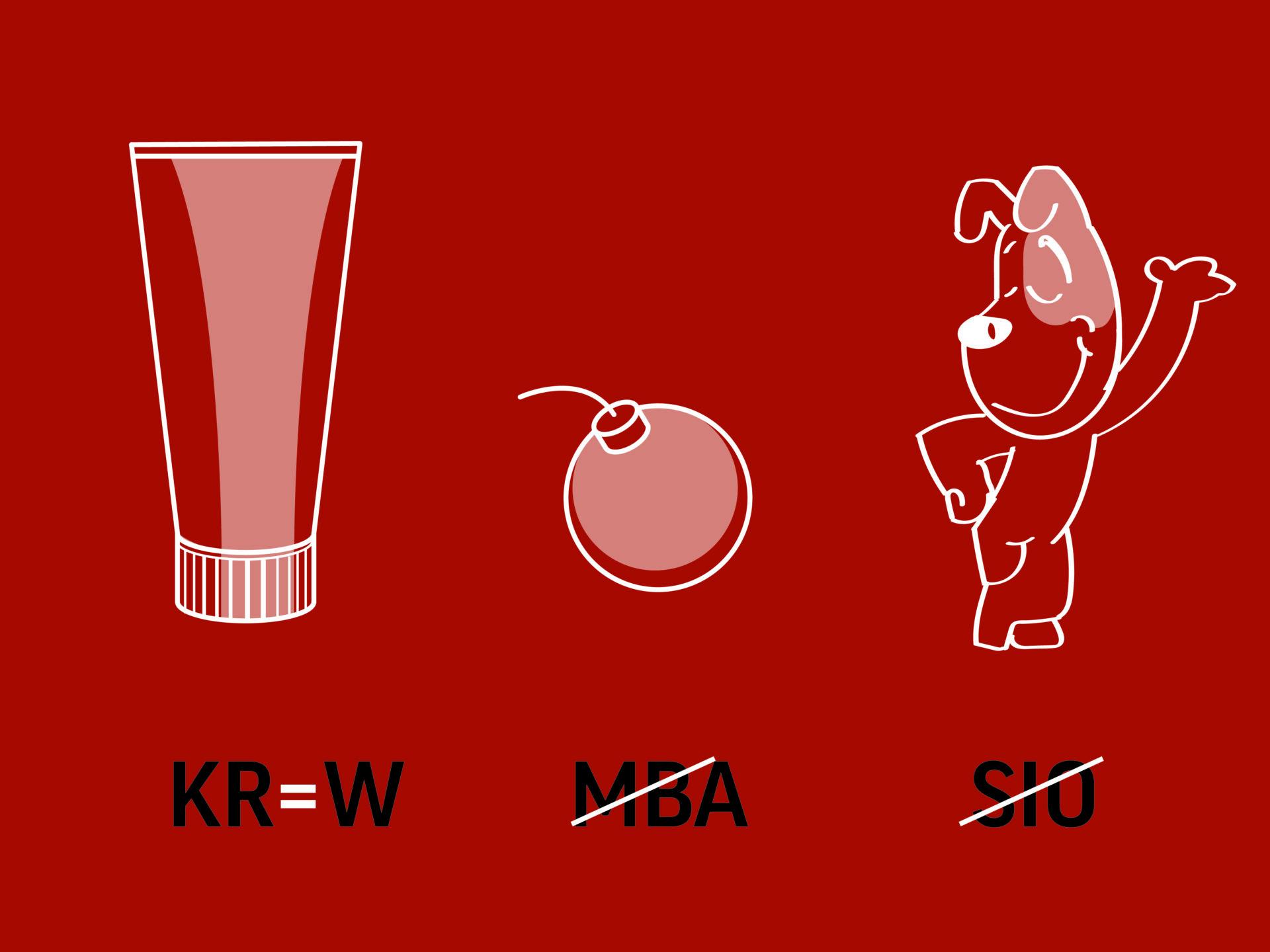 """Rebus przedstawiający kolejno: krem i""""kr""""=""""w"""", bomba iprzekreślone """"mba"""", Reksio iprzekreślone """"sio""""."""