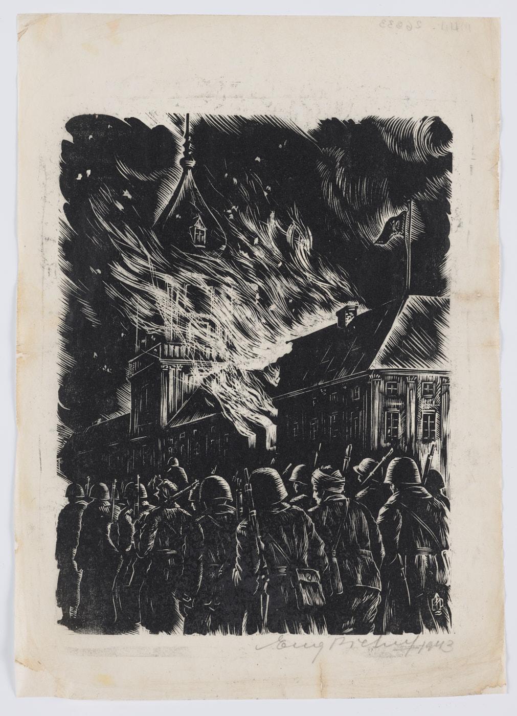 Grafika wykonana czarną farbą. Noc. Obok płonącego Zamku Królewskiego maszeruje duża grupa żołnierzy, są odwróceni tyłem. Mają hełmy nagłowach ibroń naramionach. Niektórzy znich przyglądają się pożarowi.