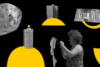kolaż, czarne tło, w różnych miejscach żółte figury geometryczne, fragmenty czarno-białych zdjęć, w lewym górnym rogu budynek z rowerem i drzewem przed nim, poniżej 10 piętrowy blok z żółtą kropką nad, na środku przy górnej krawędzi blok, poniżej kobieta wieszająca pranie, prawy góny róg fasada kamienicy, balkon z przewieszoną pościelą