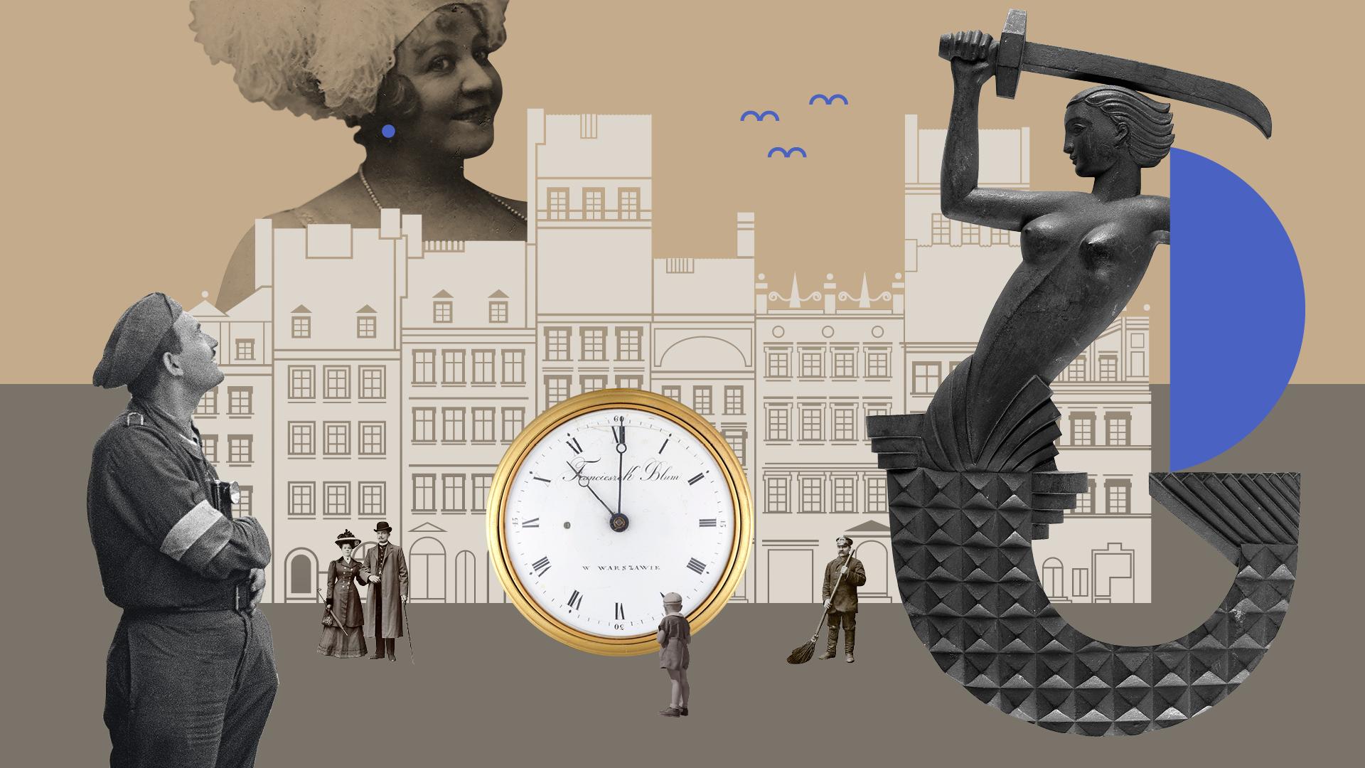 Grafika kolaż. Beżowe tło. 8 białych kamienic Muzeum Warszawy. Zza nich wystaje postać tancerki ze starego zdjęcia. Włosy ma upięte w wysoki kok z piórem, korale na szyi, szeroki uśmiech. W miejscu kolczyka niebieska kropka. W tle niebieskie ikony ptaków (połączone dwa łuki). W lewym dolnym rogu postać powstańca z opaską na przedramieniu, zadziera głowę do góry, patrzy w niebo. Po prawej na dalszym planie dziwiętnastowieczna para. Obok złoty kieszonkowy zegar. Przed nim tyłem stoi mały chłopiec w czapce i krótkich spodenkach. Po prawej stronie mosiężna syrenka warszawska. Zamiast tarczy ma niebieskie półkole. Pomiędzy zegarem a syrenką postać zamiatającego stróża.
